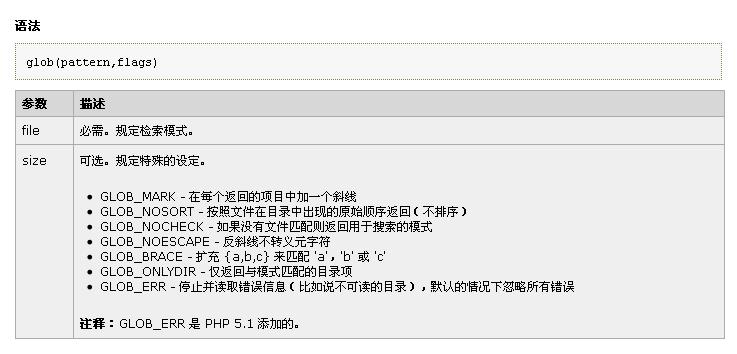 php使用glob()函数查找文件