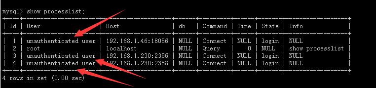 "mysql执行show processlist出现异常线程记录""unauthenticated user""解决方案"